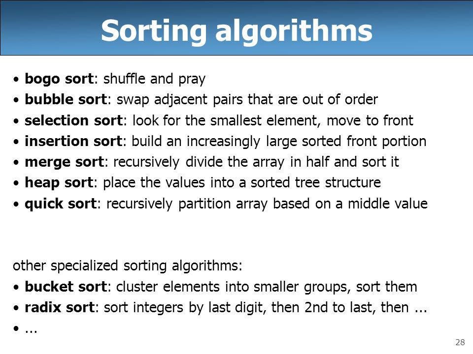Sorting algorithms bogo sort: shuffle and pray