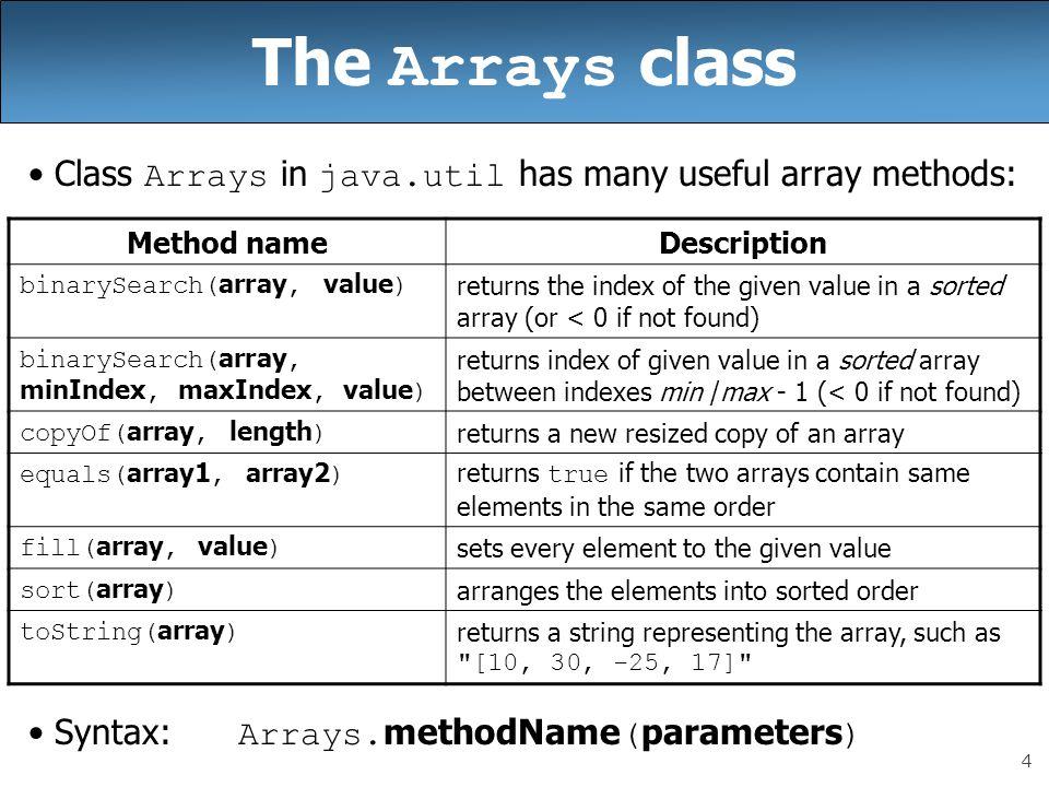 The Arrays class Class Arrays in java.util has many useful array methods: Syntax: Arrays.methodName(parameters)