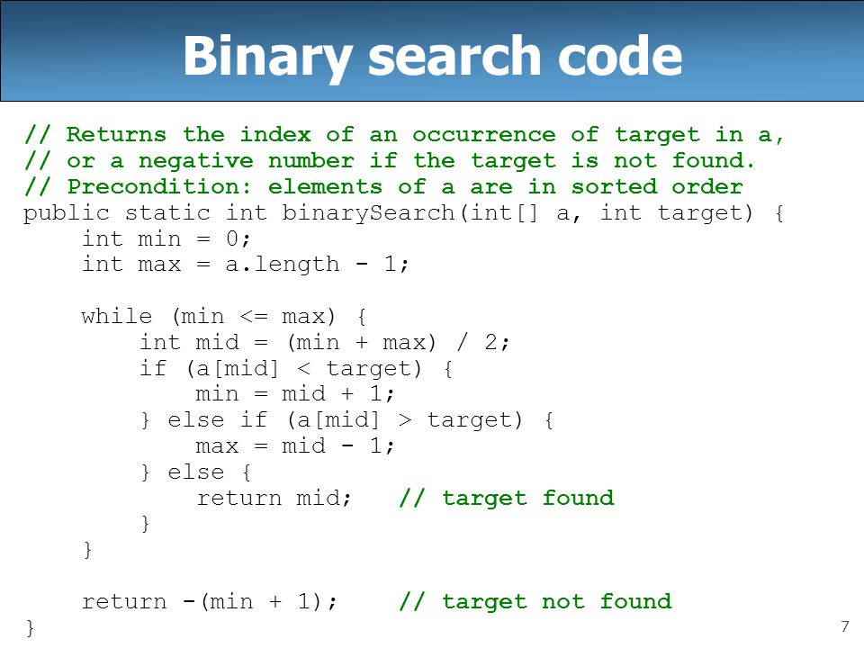 Binary search return index c