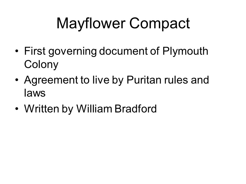 Mayflower Compact First governing document of Plymouth Colony