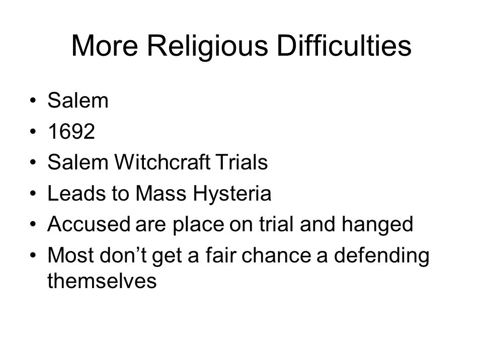 More Religious Difficulties