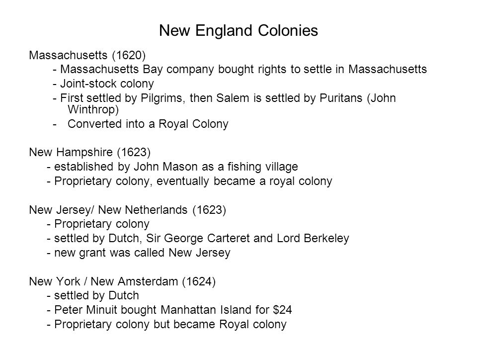 New England Colonies Massachusetts (1620)