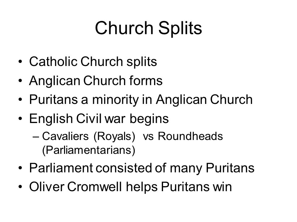 Church Splits Catholic Church splits Anglican Church forms