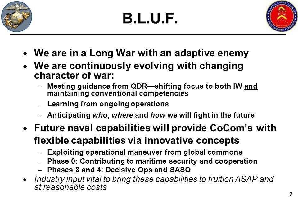 B.L.U.F. We are in a Long War with an adaptive enemy