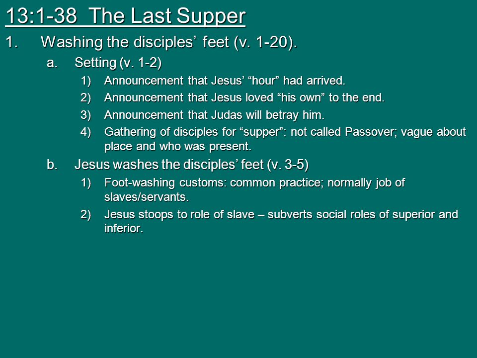 13:1-38 The Last Supper Washing the disciples' feet (v. 1-20).