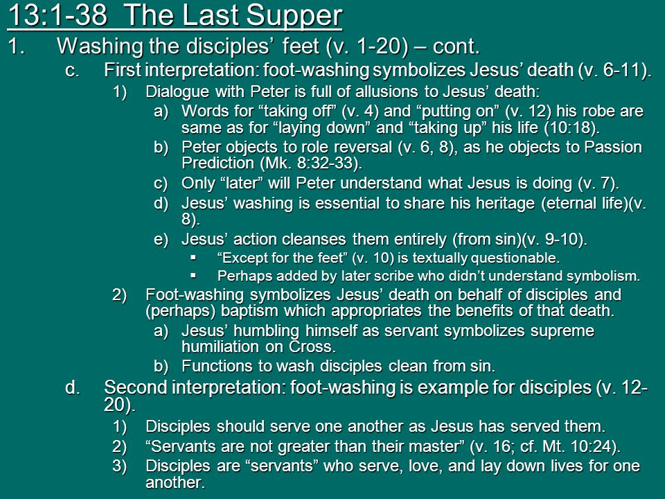 13:1-38 The Last Supper Washing the disciples' feet (v. 1-20) – cont.