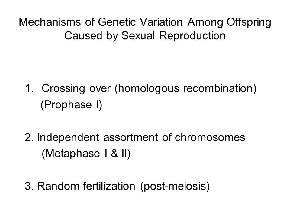 Mechanisms of Genetic Variation Among Offspring Caused by Sexual Reproduction