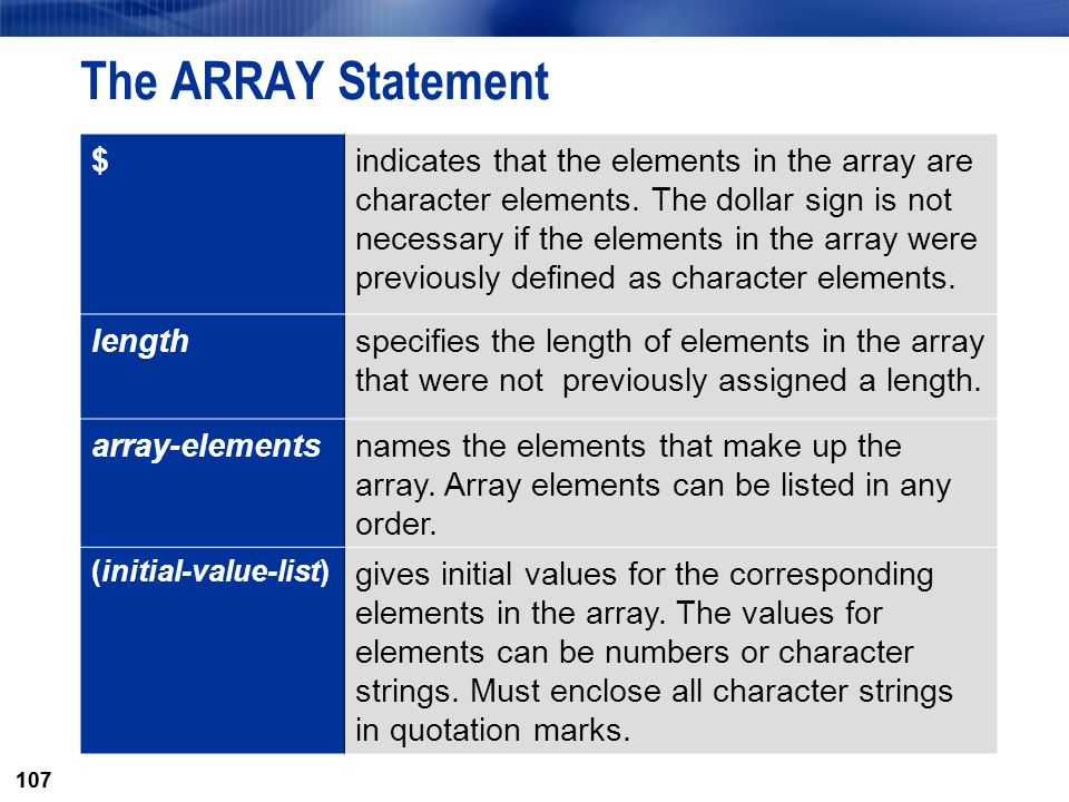 The ARRAY Statement $