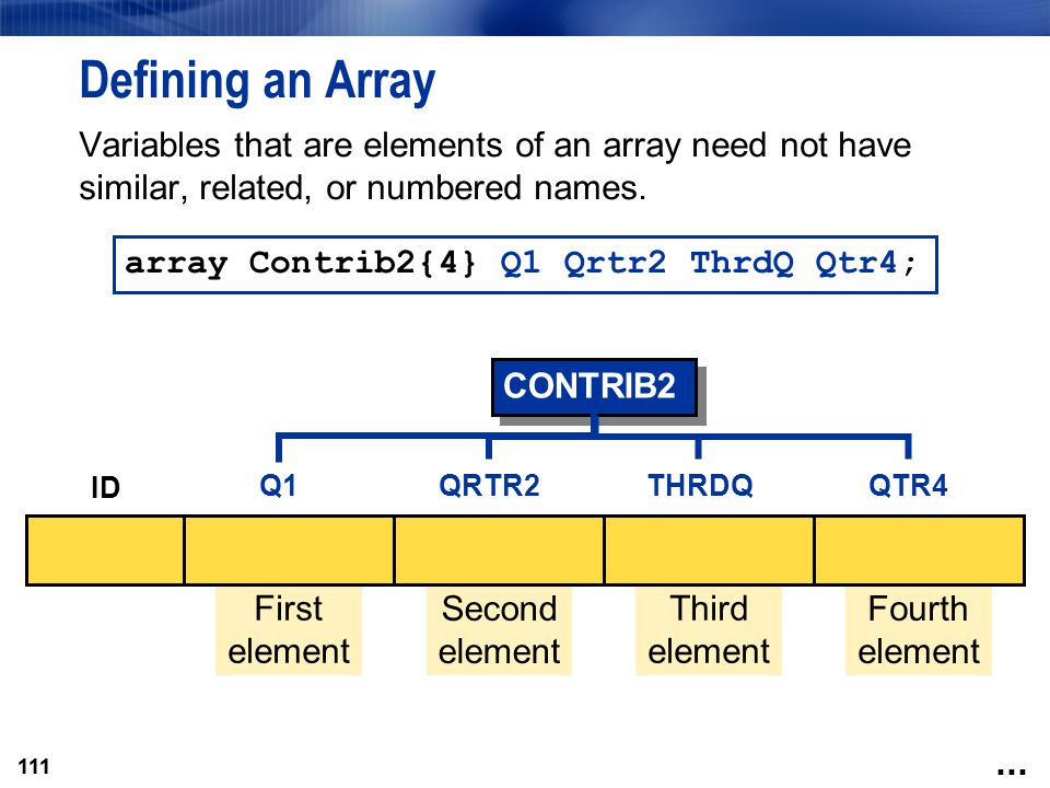 Defining an Array Variables that are elements of an array need not have similar, related, or numbered names.