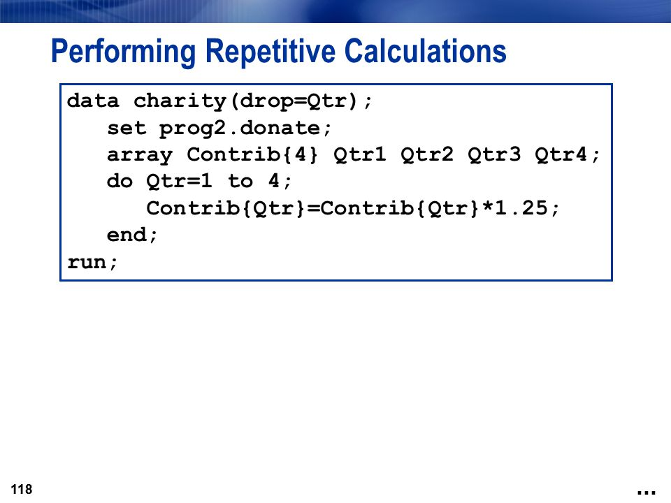 Performing Repetitive Calculations