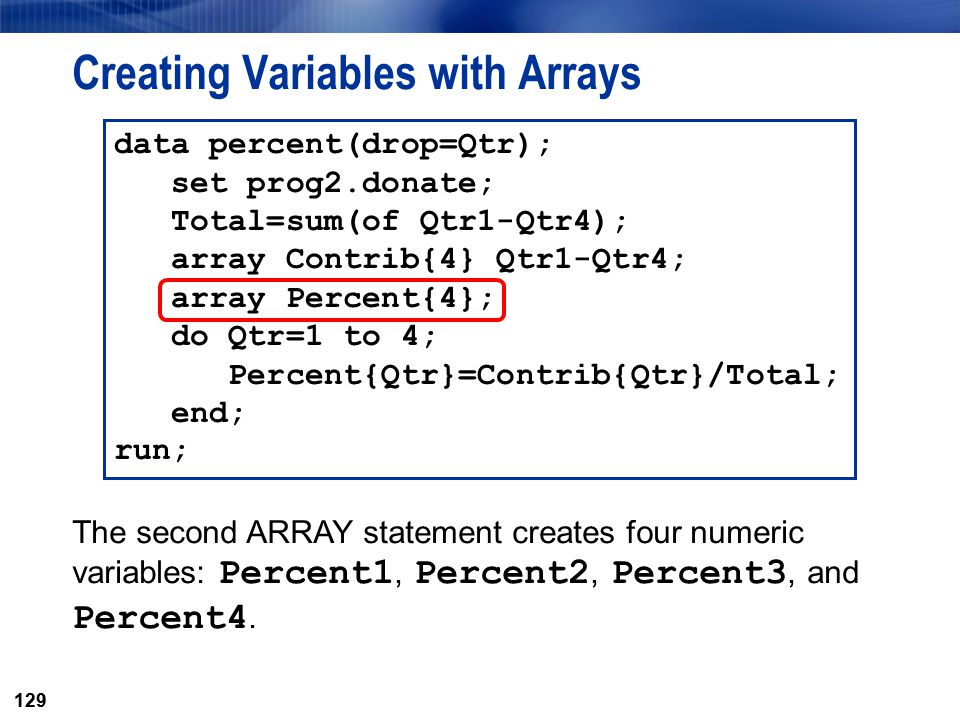 Creating Variables with Arrays