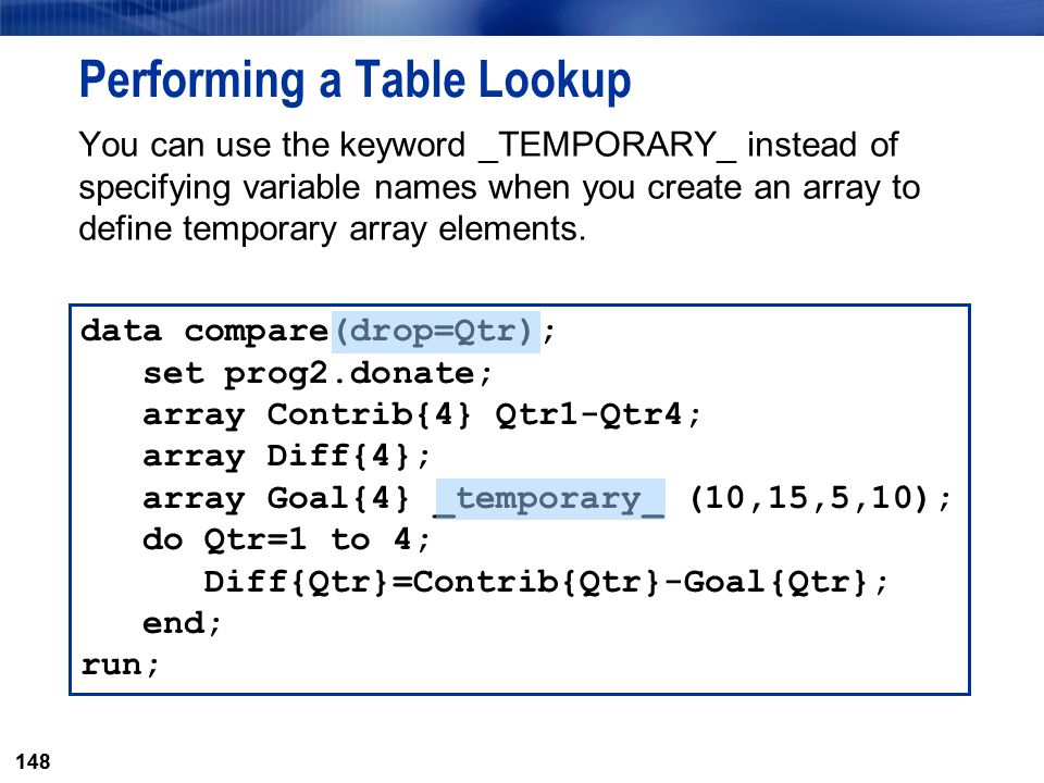 Performing a Table Lookup