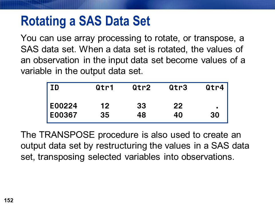 Rotating a SAS Data Set