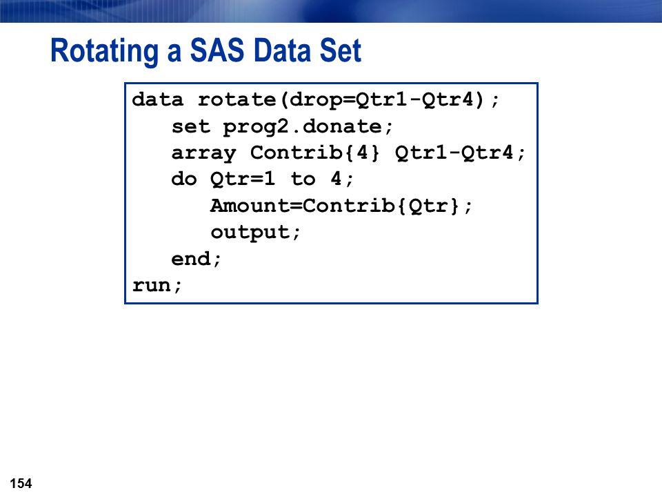 Rotating a SAS Data Set data rotate(drop=Qtr1-Qtr4); set prog2.donate;