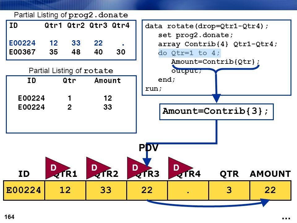 Amount=Contrib{3}; PDV E00224 12 33 22 . 3 22 33 D D D D ID QTR1 QTR2
