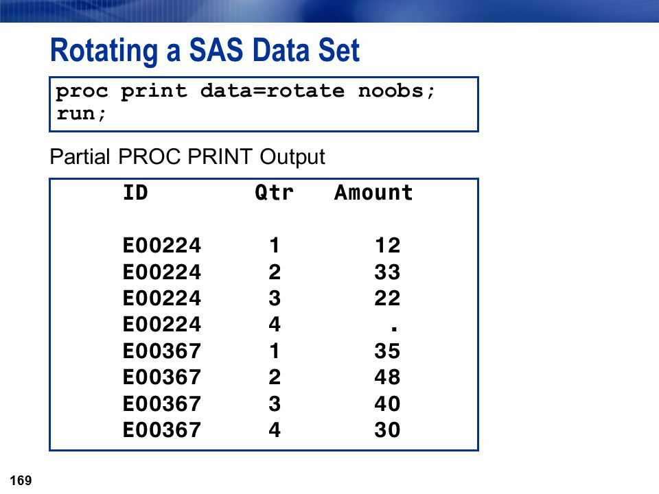 Rotating a SAS Data Set proc print data=rotate noobs; run;
