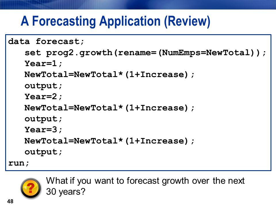 A Forecasting Application (Review)