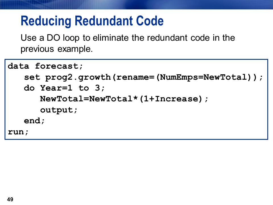 Reducing Redundant Code