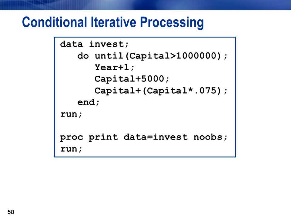 Conditional Iterative Processing