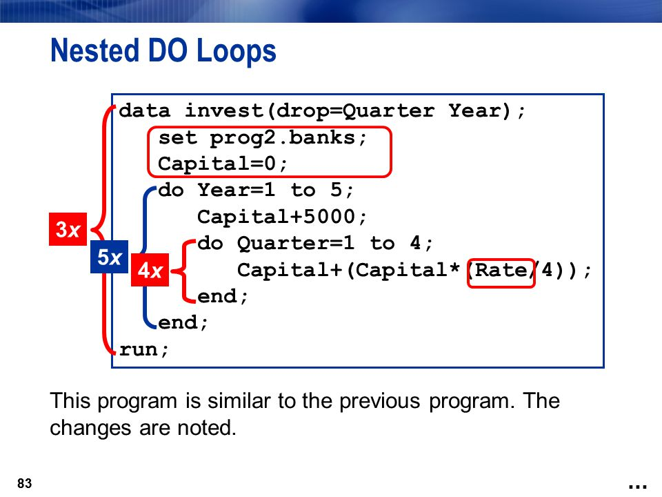 Nested DO Loops data invest(drop=Quarter Year); set prog2.banks;