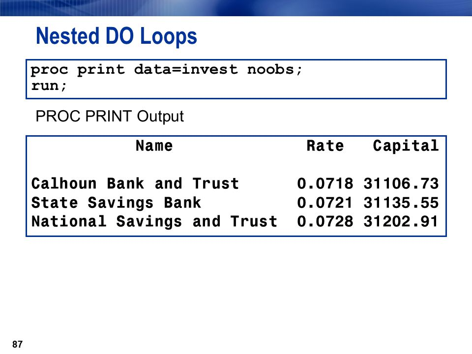 Nested DO Loops proc print data=invest noobs; run; PROC PRINT Output