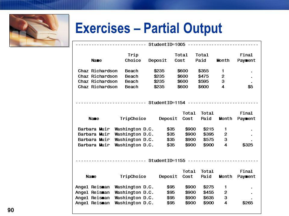 Exercises – Partial Output