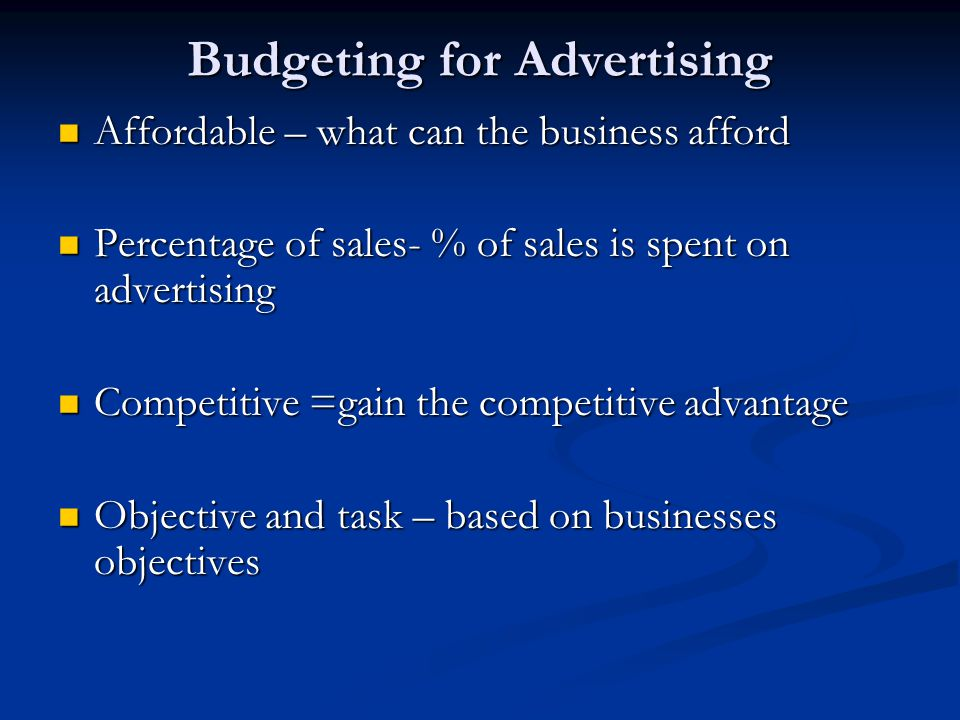 Budgeting for Advertising