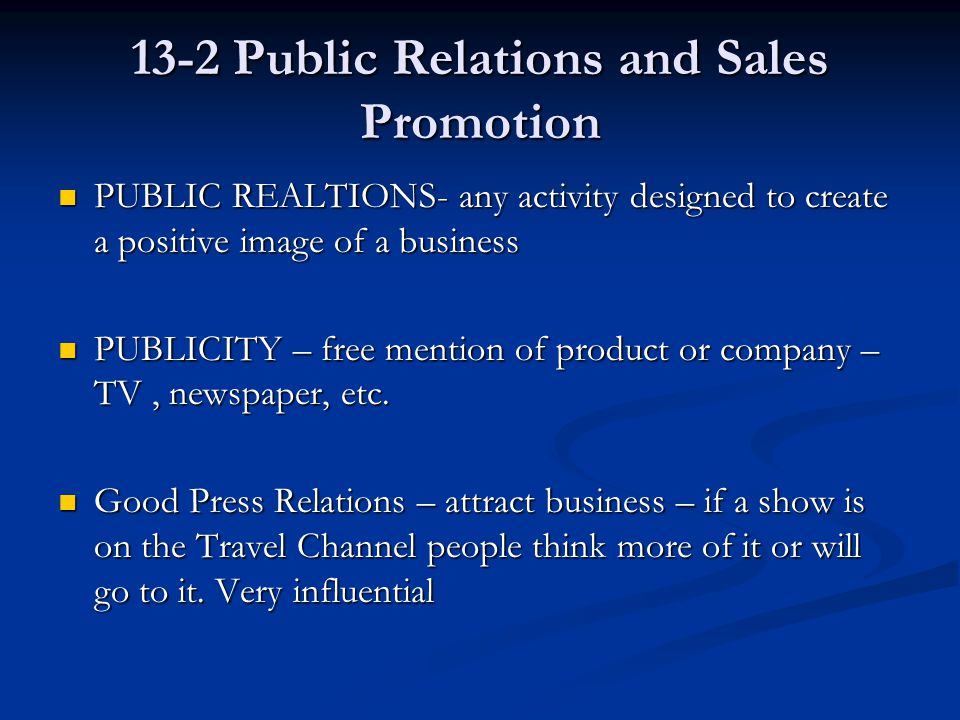 13-2 Public Relations and Sales Promotion