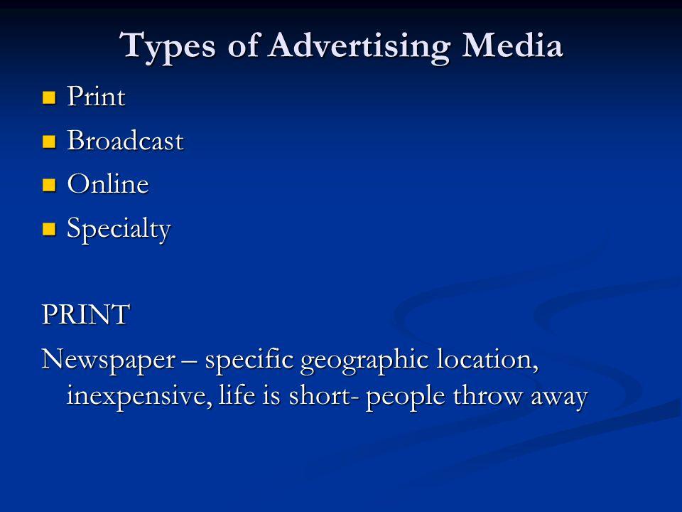 Types of Advertising Media
