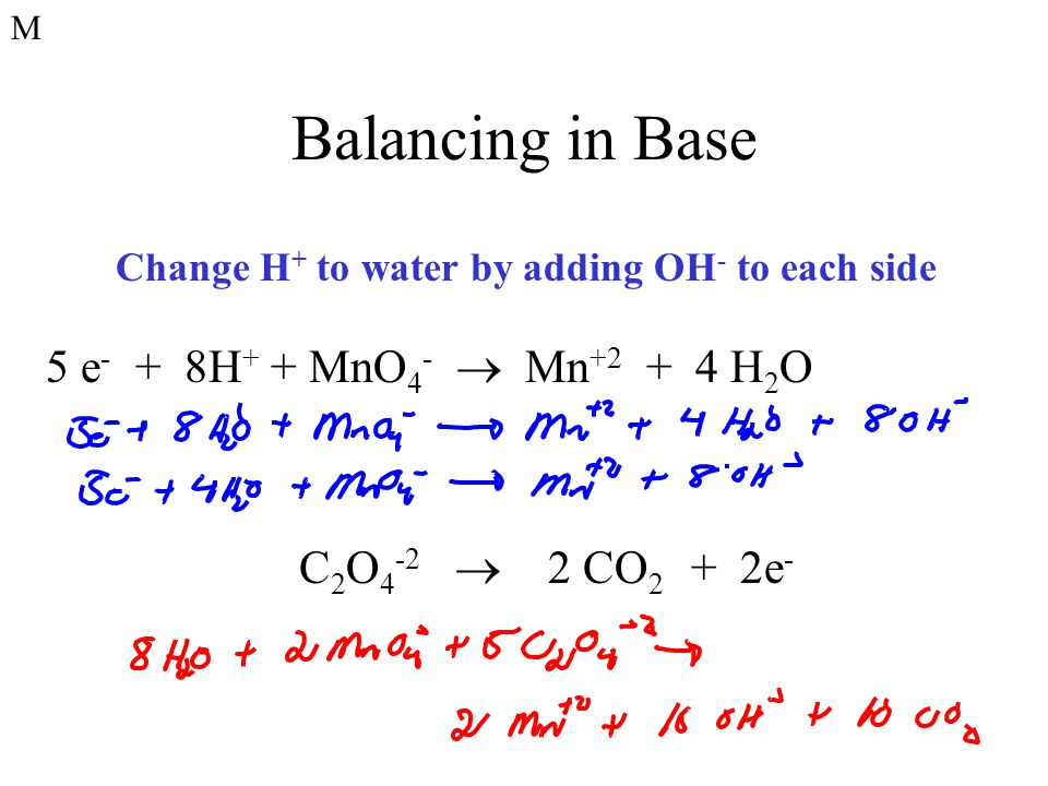 Balancing in Base 5 e- + 8H+ + MnO4-  Mn+2 + 4 H2O