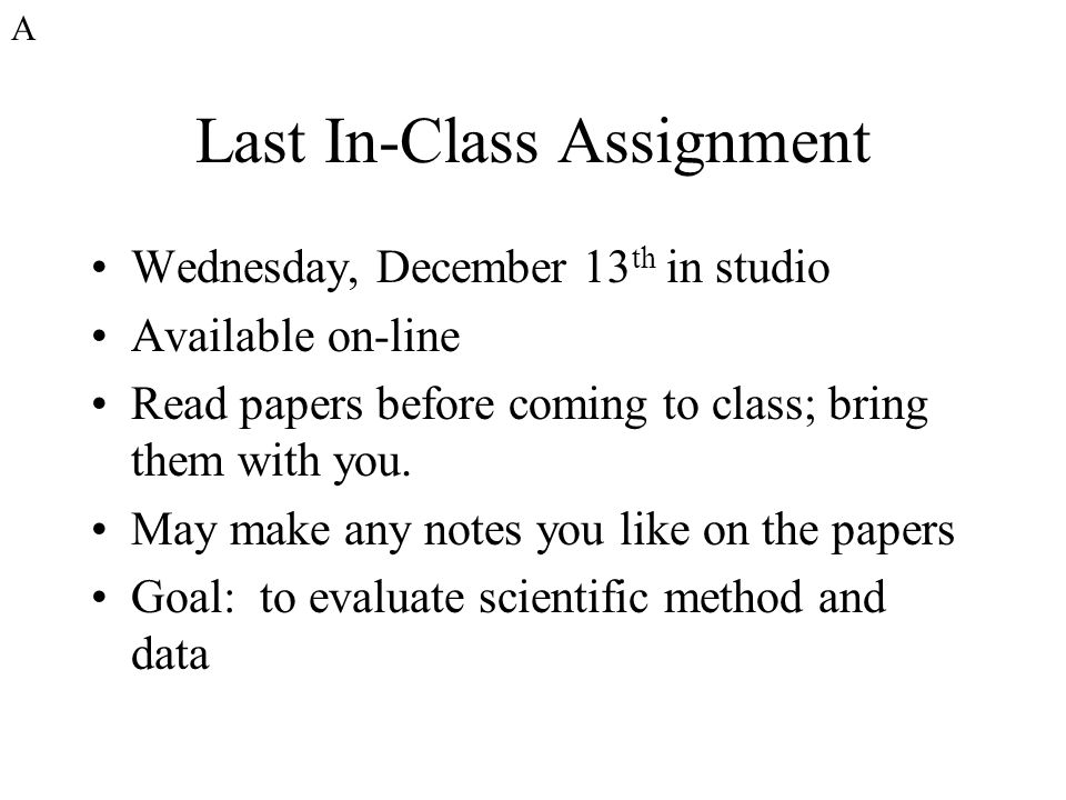 Last In-Class Assignment