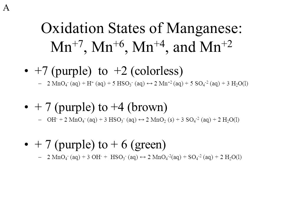 Oxidation States of Manganese: Mn+7, Mn+6, Mn+4, and Mn+2