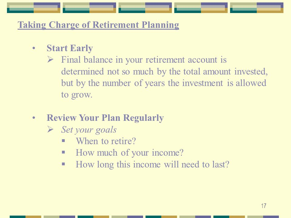 Taking Charge of Retirement Planning