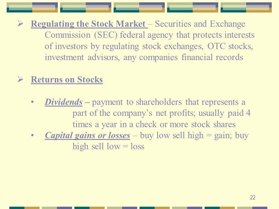 Regulating the Stock Market – Securities and Exchange