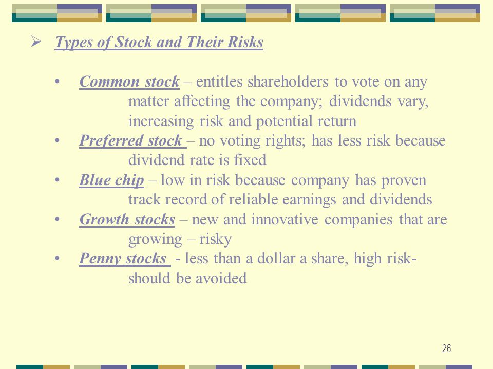 Types of Stock and Their Risks
