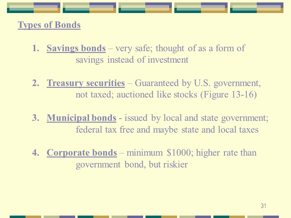 Types of Bonds Savings bonds – very safe; thought of as a form of savings instead of investment.