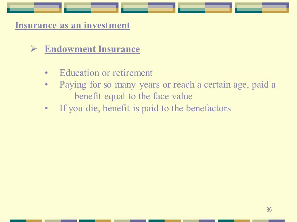 Insurance as an investment