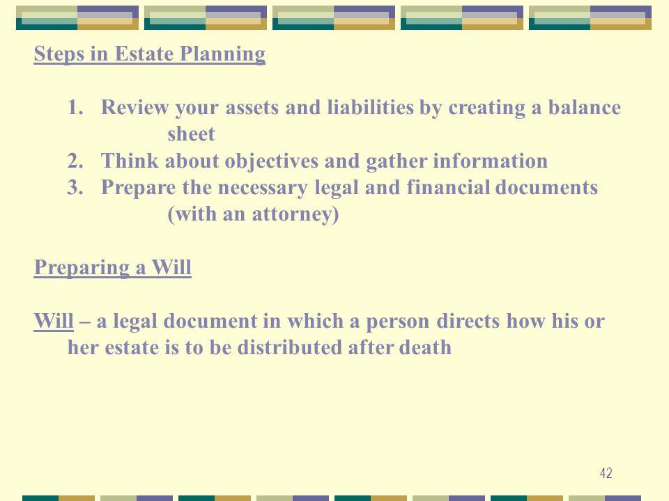 Steps in Estate Planning