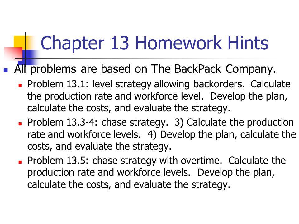 Chapter 13 Homework Hints