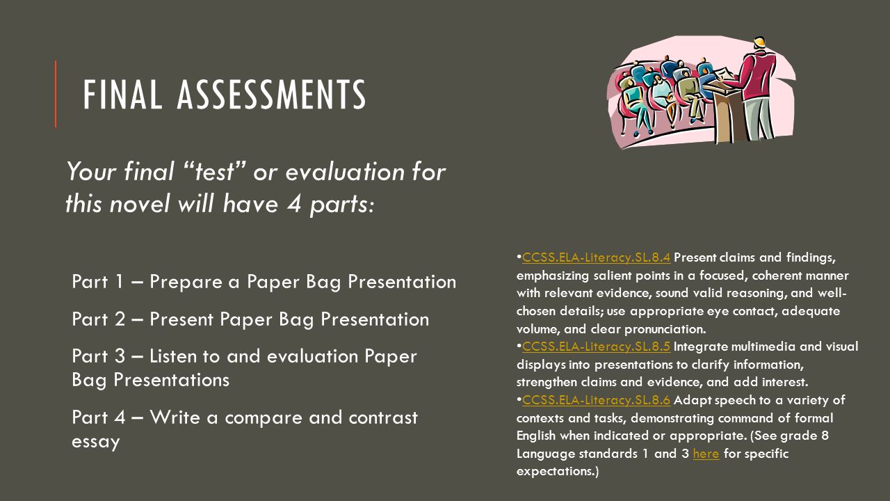 Final Assessments Your final test or evaluation for this novel will have 4 parts: Part 1 – Prepare a Paper Bag Presentation.