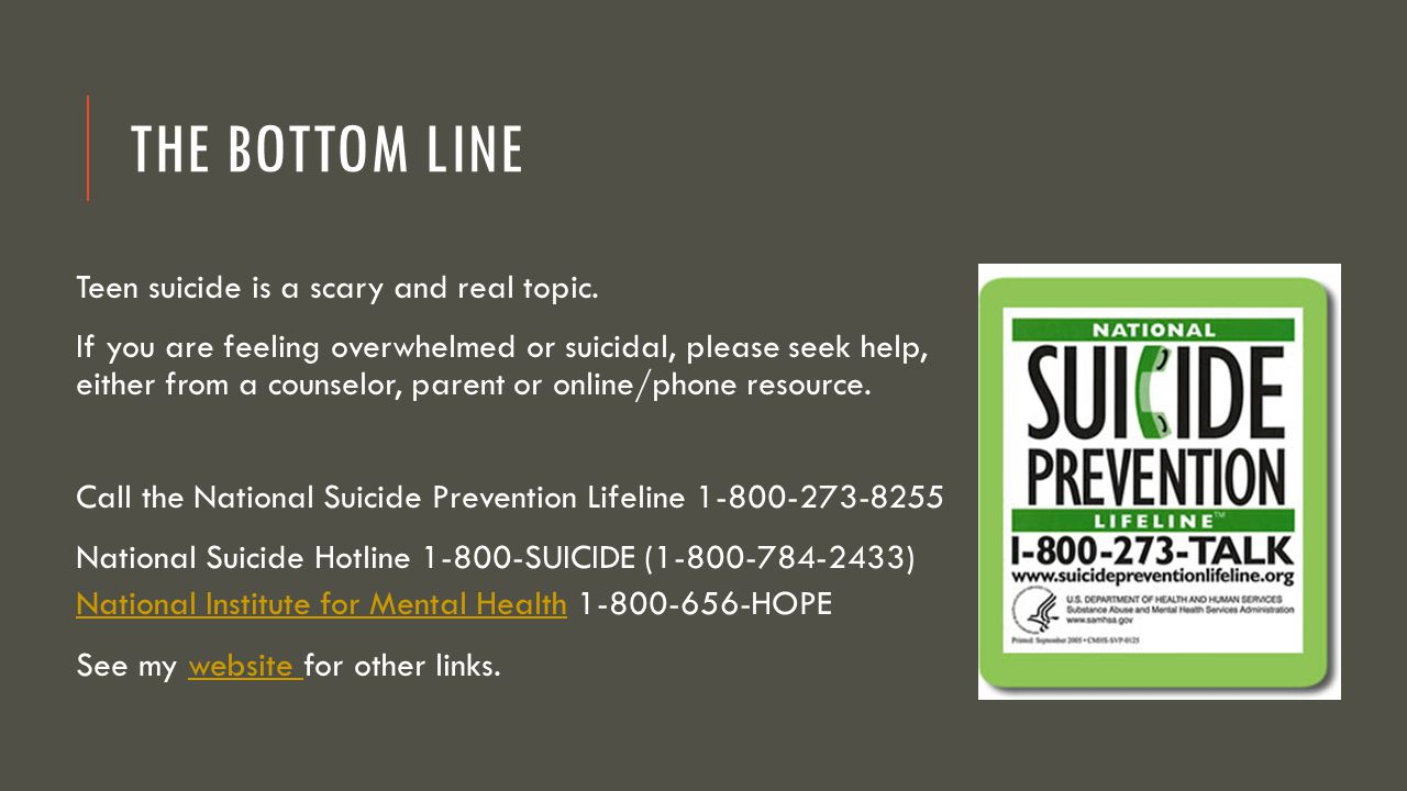 The Bottom Line Teen suicide is a scary and real topic.
