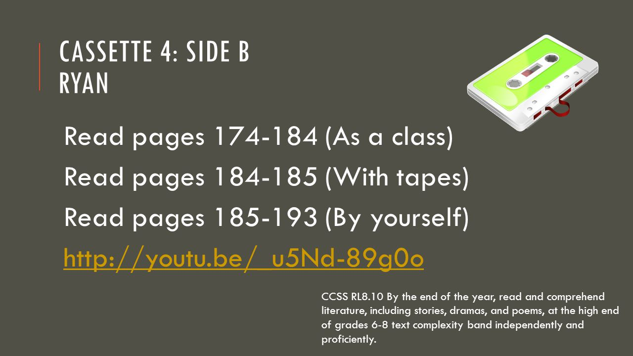 Cassette 4: Side B Ryan Read pages 174-184 (As a class)