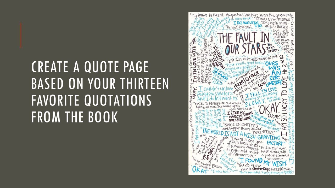 Create a Quote page based on your thirteen favorite quotations from the book
