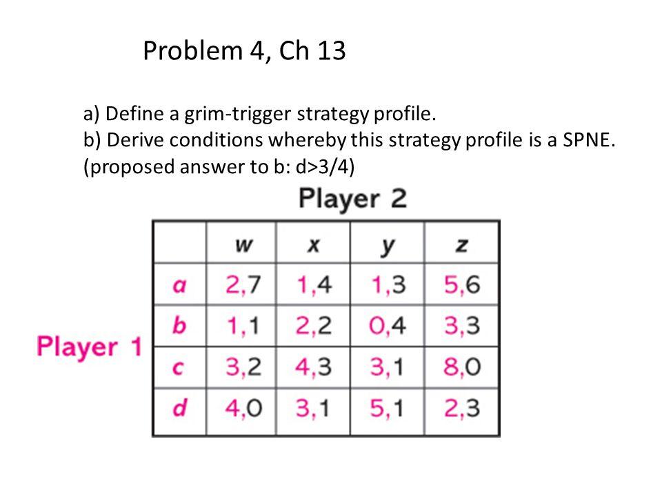 Problem 4, Ch 13 a) Define a grim-trigger strategy profile.