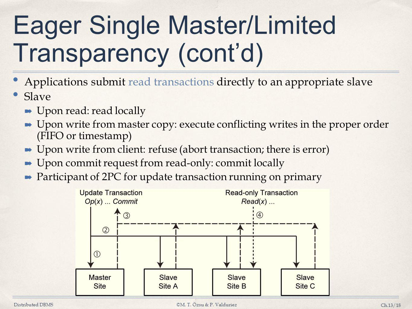 Eager Single Master/Limited Transparency (cont'd)
