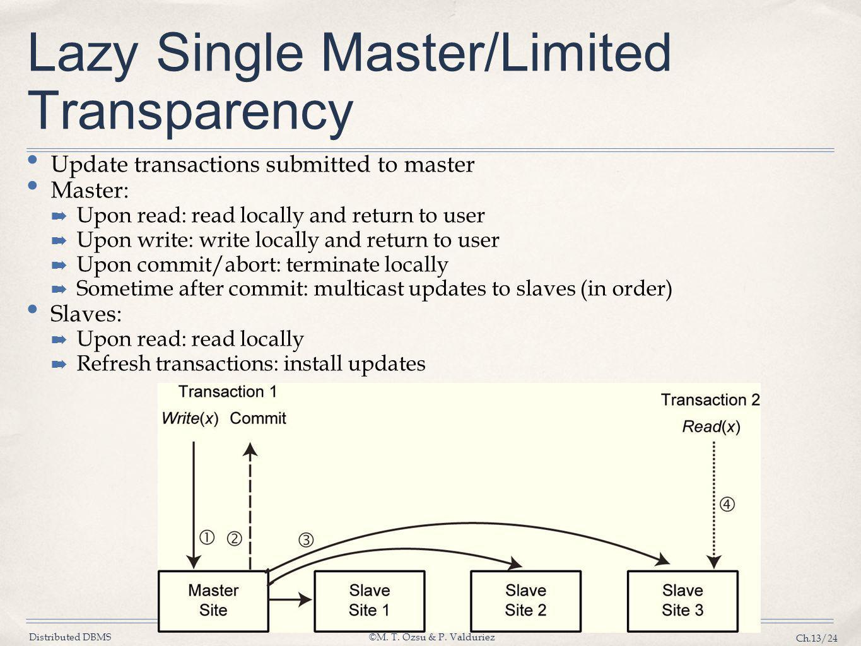 Lazy Single Master/Limited Transparency
