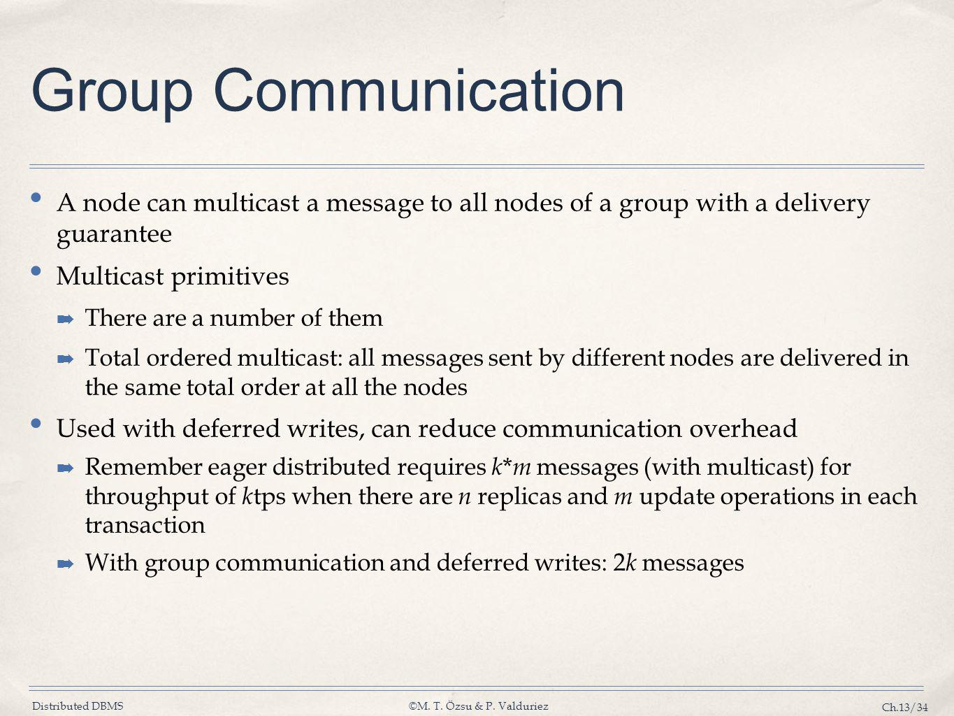 Group Communication A node can multicast a message to all nodes of a group with a delivery guarantee.
