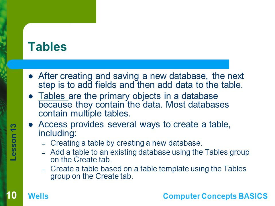 Tables After creating and saving a new database, the next step is to add fields and then add data to the table.