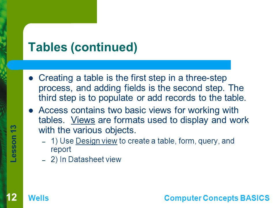 Tables (continued)