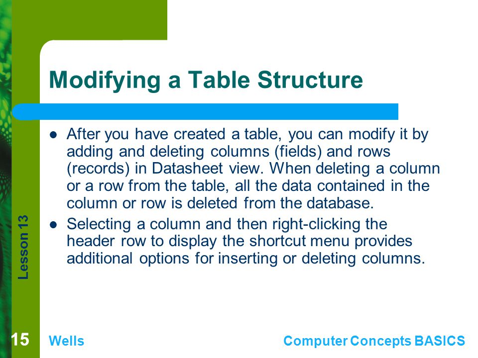 Modifying a Table Structure